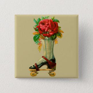 Badges Rollerskate vintage avec le rose rouge