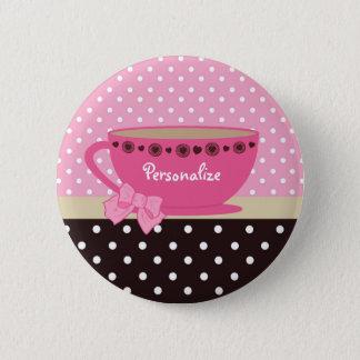 Badges Rose de tasse de thé et arc et nom Girly de point