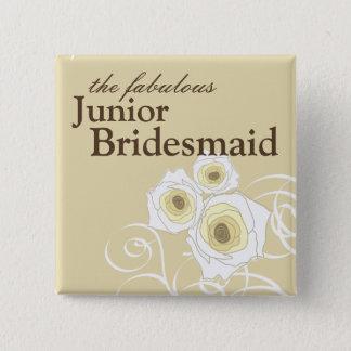 Badges Roses et bouton crèmes de mariage de demoiselle