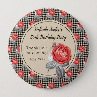 Badges Roses roses et anniversaire de pied-de-poule