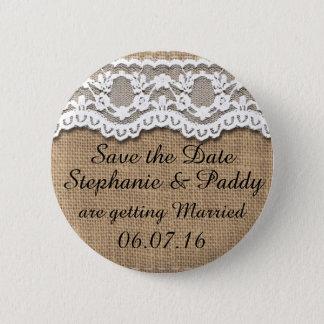 Badges Sauvez la date, la toile de jute rustique et la