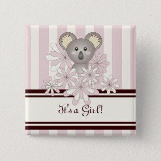 Badges Son un rose animal mignon de koala de baby shower