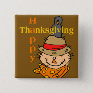 Badges Thanksgiving d'épouvantail et de corneille