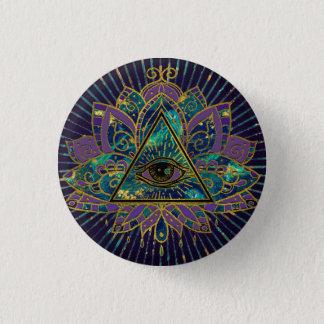Badges Tout l'oeil mystique voyant en fleur de Lotus