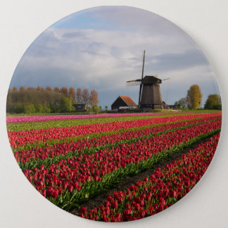 Badges Tulipes rouges et un moulin à vent