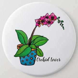 Badges Usine d'orchidée d'aquarelle dans le beau pot
