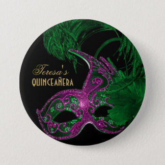 Badges Vert d'anniversaire de quinceañera de mascarade,