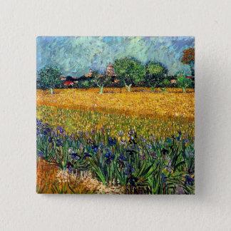 Badges Vincent van Gogh - vue d'Arles avec des iris