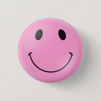 Badges Visage souriant rose