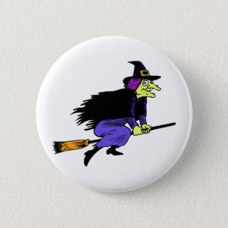 Badges Vol de sorcière de Halloween sur un manche à