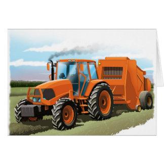 badine la carte d'anniversaire de tracteur