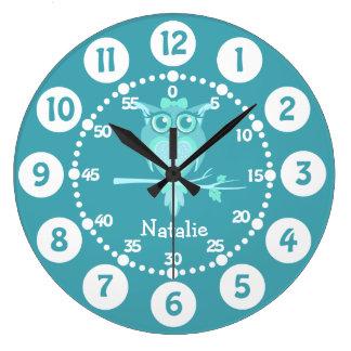 Badine l'horloge murale mignonne de vert bleu grande horloge ronde