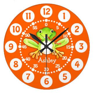 Badine l'horloge murale verte orange de grenouille grande horloge ronde