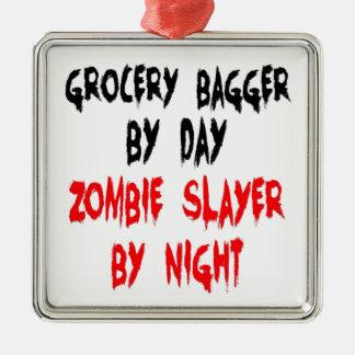 Bagger d'épicerie de tueur de zombi ornement carré argenté