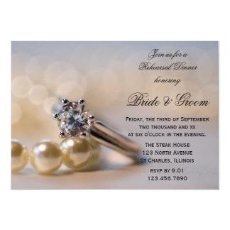 Bague à diamant et perles épousant le dîner de carton d'invitation  12,7 cm x 17,78 cm