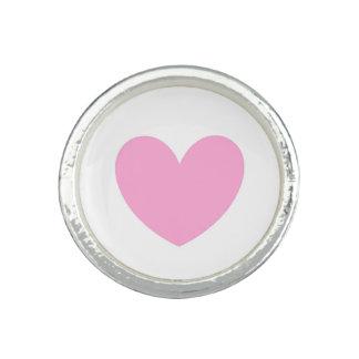 Bague Avec Photo Coeurs de polka de rose de sucrerie de coton sur