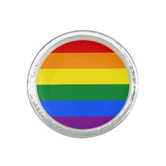 Bague Avec Photo Drapeau de gay pride d'arc-en-ciel