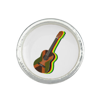 Bague Avec Photo Drapeau jamaïcain de guitare de reggae de
