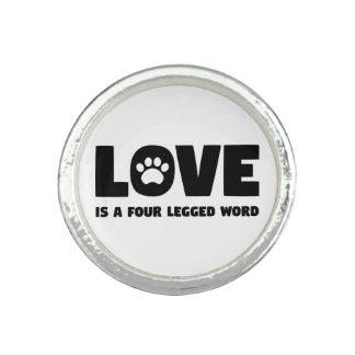 Bague Avec Photo L'amour est un mot quatre à jambes