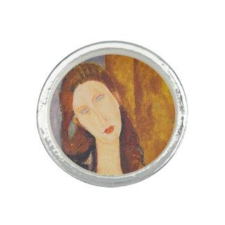 Bague Avec Photo Portrait de Jeanne Hebuterne par Amedeo Modigliani