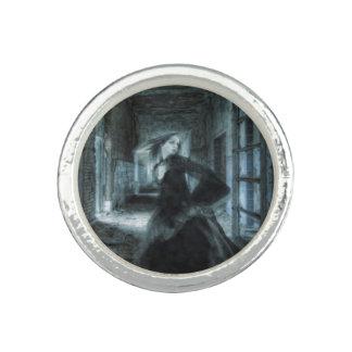 Bague Avec Photo Prisonnier d'anneau d'argent de fantôme de temps