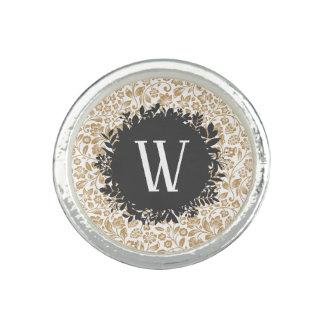 Bague Motif floral d'or avec le monogramme gris-foncé de