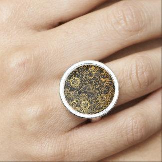 Bague Or floral G523 de griffonnage d'anneau