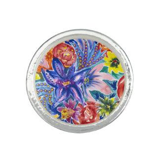 Bagues Anneau tropical coloré d'aquarelle de bouquet de