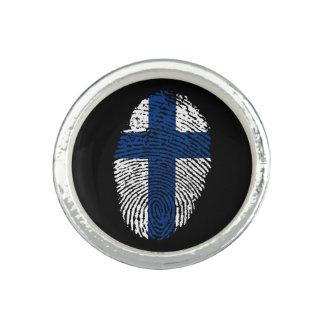 Bagues Avec Photo Drapeau finlandais d'empreinte digitale de contact