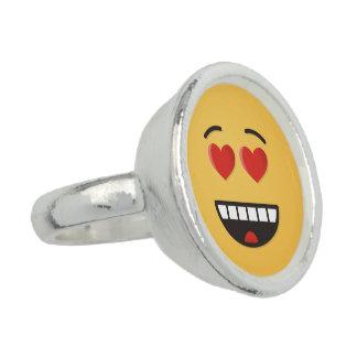 Bagues Avec Photo Visage de sourire avec les yeux en forme de coeur