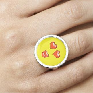 Bagues Smiley drôle d'Emoji de baiser d'amour