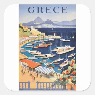 Baie 1955 de la Grèce Athènes d'affiche de voyage Sticker Carré