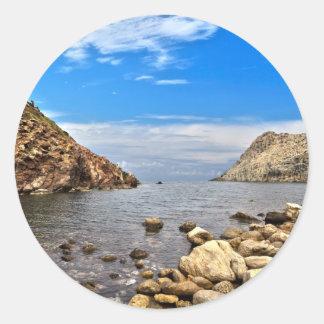 Baie de Calafico - île de San Pietro Sticker Rond