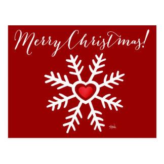 Baie de Noël   de flocon de neige de coeur Carte Postale