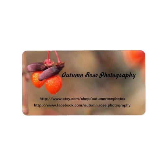 baies oranges étiquette d'adresse