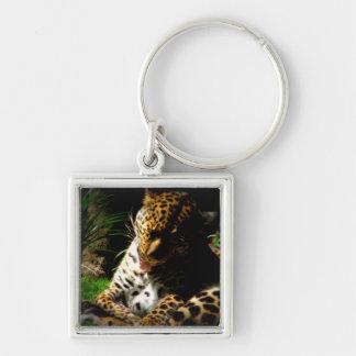 Baigner le léopard porte-clef