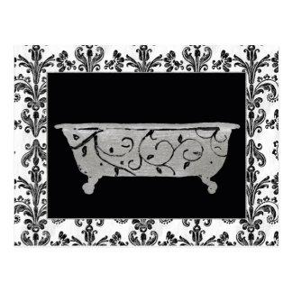 Baignoire en noir et blanc carte postale