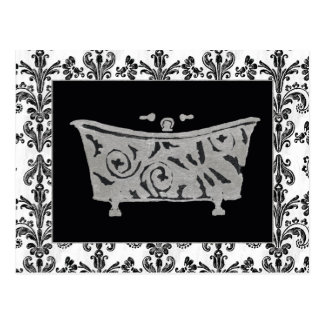 Baignoire noire et blanche carte postale