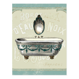Baignoire vintage avec le miroir carte postale