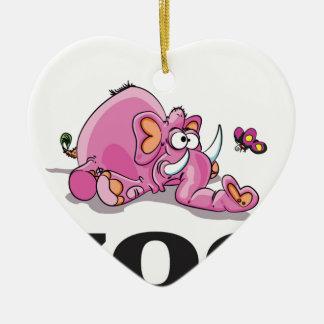 bâillon d'éléphant de zoo ornement cœur en céramique