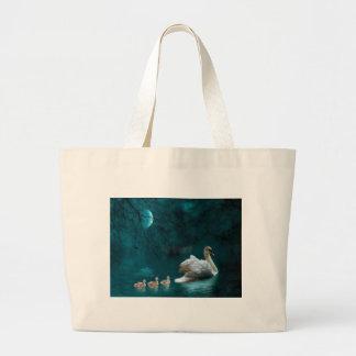 Bain de famille de cygne de clair de lune sac en toile