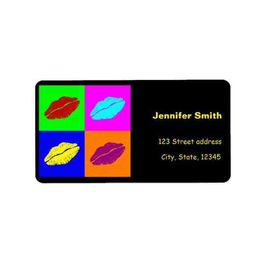 Baiser coloré de rouge à lèvres d'art de bruit étiquette d'adresse