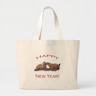 Baiser de bonne année sacs en toile