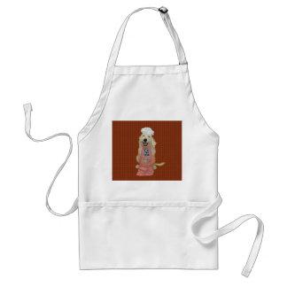 Baiser de Goldendoodle le tablier de cuisinier