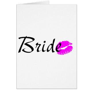 Baiser de jeune mariée cartes de vœux