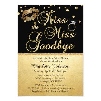 Baiser de noir d'or la Mlle Goodbye Bridal Shower Carton D'invitation 12,7 Cm X 17,78 Cm