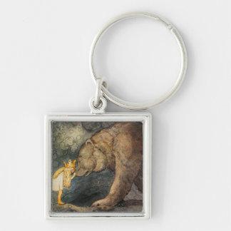Baiser d'ours porte-clé carré argenté