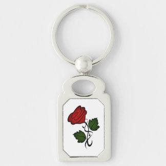 Baiser kash002 de rose rouge porte-clé rectangulaire argenté