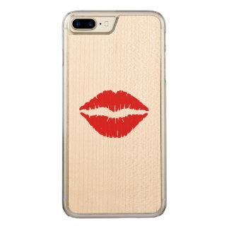 Baiser rouge de rouge à lèvres coque iphone 7 plus en bois
