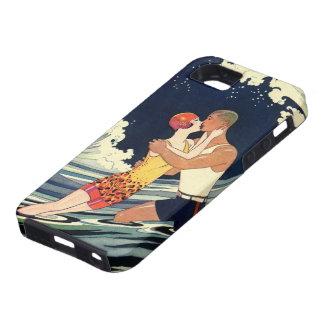 Baiser vintage d'amants d'art déco dans les vagues coque iPhone 5